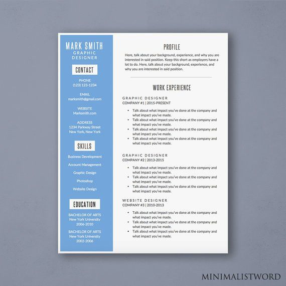 Attractive Word Resume Template with Blue Sidebar Design #Resume ...