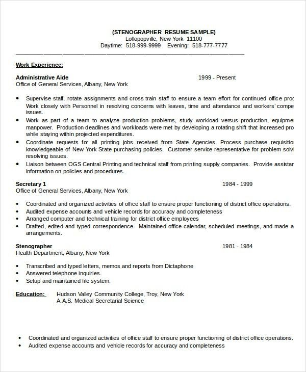 Stenographer Resume Template - 7+ Free Word, PDF Documents ...