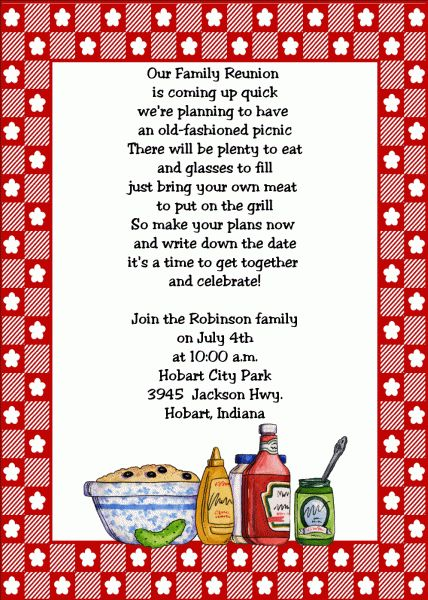 Family Reunion Invitations | Family Reunion Party Invitations ...