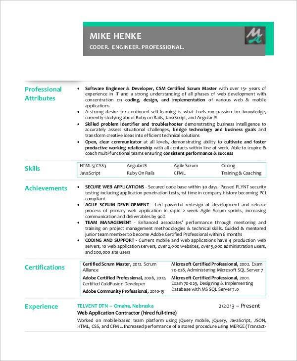 Sample Scrum Master Resume - 8+ Examples in PDF