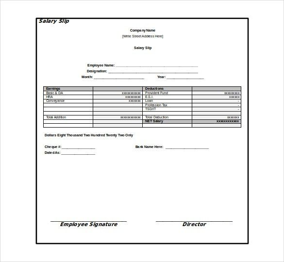 Professional Monthly Employee Pay Slip Template Sample For Your ...