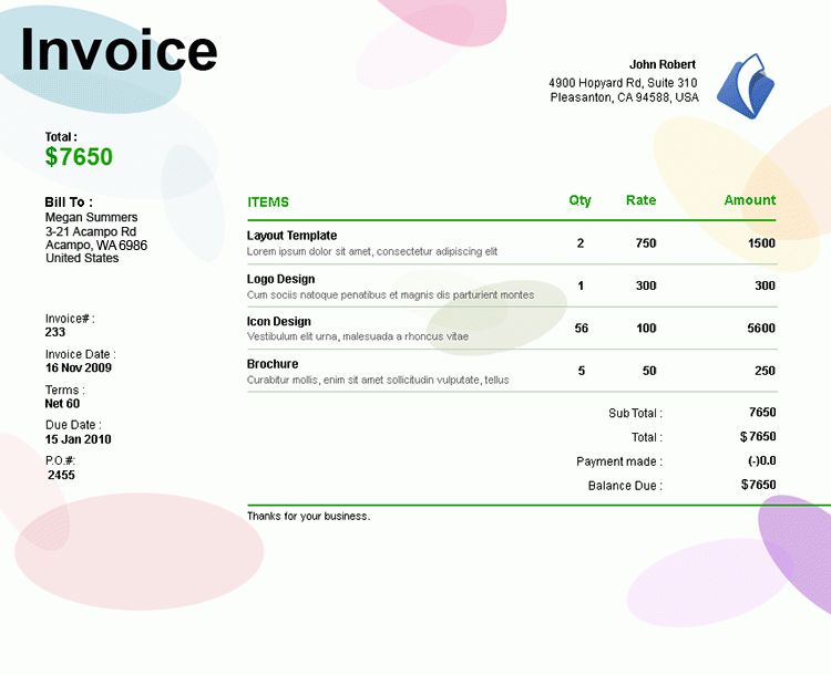 Modern Sample of Invoice Template Mock Up for Professional Company ...