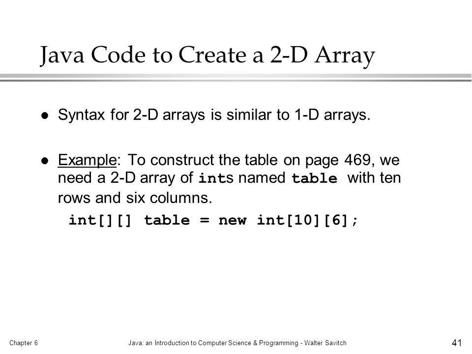Arrays Chapter 6 Array Basics Arrays in Classes and Methods - ppt ...