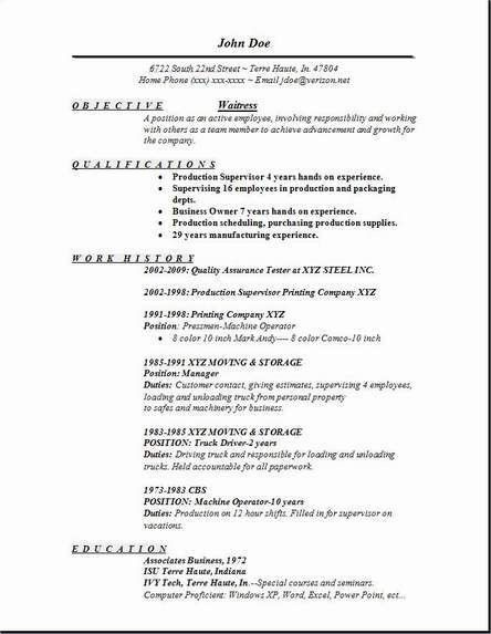 waitress resume objective qualifications - Writing Resume Sample ...