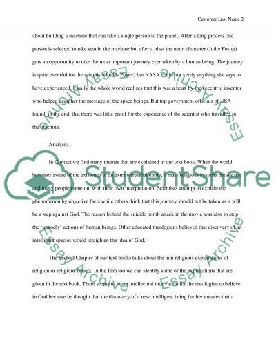 Movie Reflection Paper - Contact Review Example | Topics and Well ...