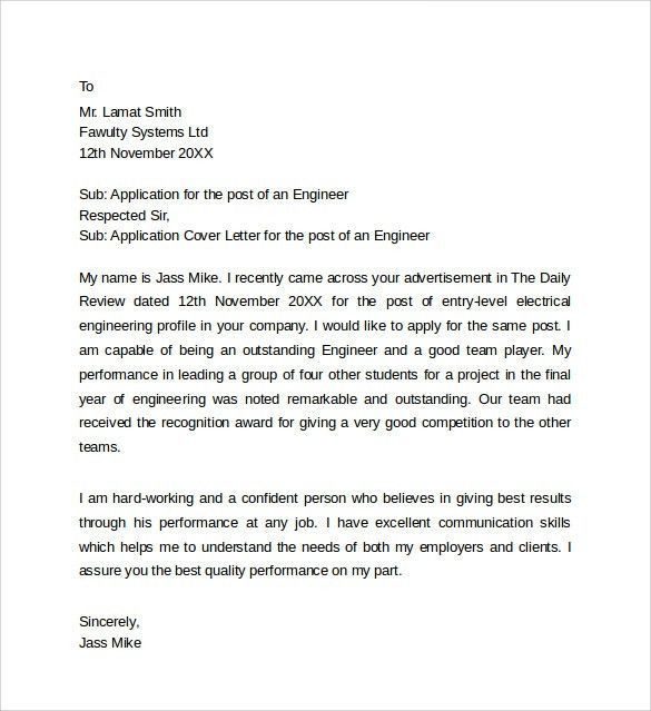 Sample Application Cover Letter Templates - 8+ Free Documents in ...