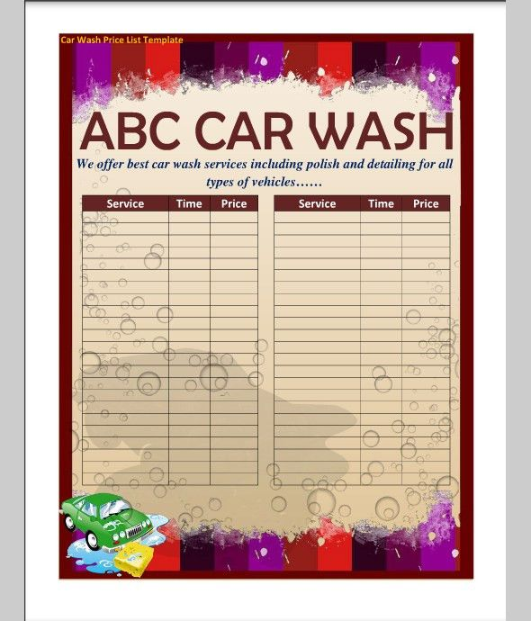 Car Wash Price List Template | Sample Templates