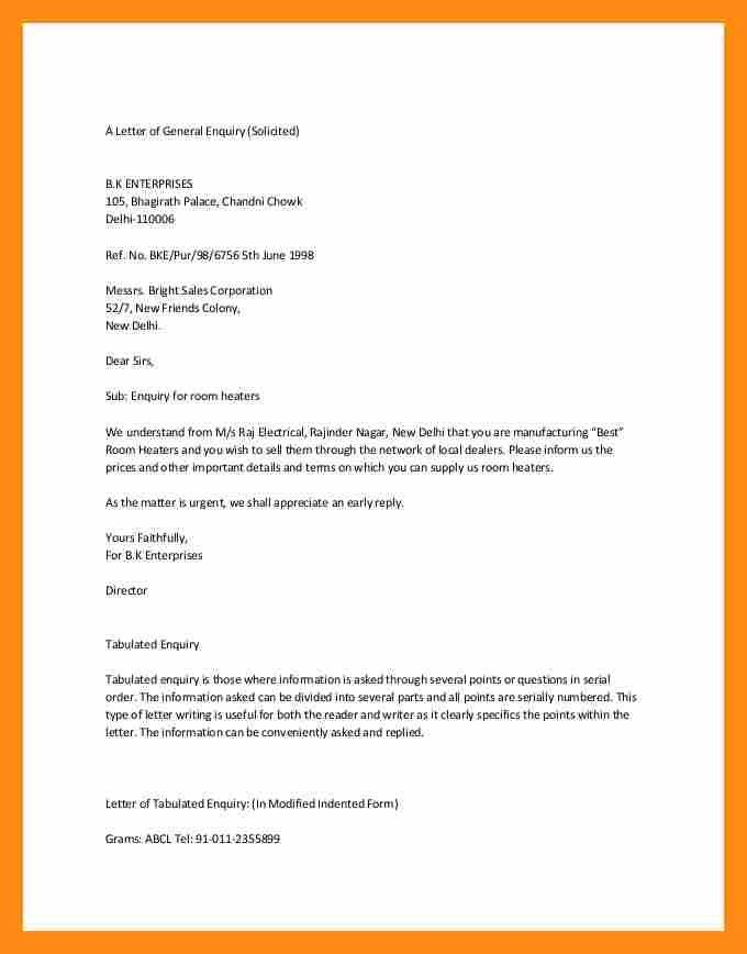 4+ examples of enquiry letter   actor resumed