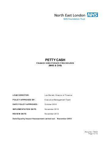 Petty Cash Policy Template. petty cash policy template example ...