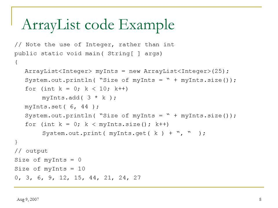 Aug 9, CMSC 202 ArrayList. Aug 9, What's an Array List ArrayList ...