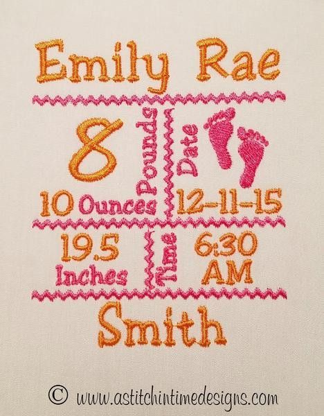 FOOTPRINTS BIRTH ANNOUNCEMENT TEMPLATE for 4x4 Hoop – A Stitch in ...