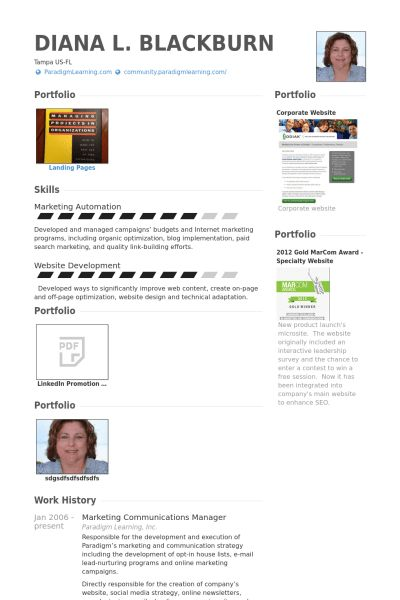 Marketing & Communications Manager Resume samples - VisualCV ...