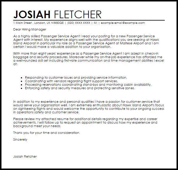 Sample Airline Customer Service Agent Cover Letter] Actor Cover ...