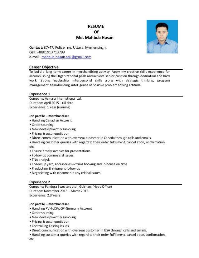 Resume of Mahbub Hasan