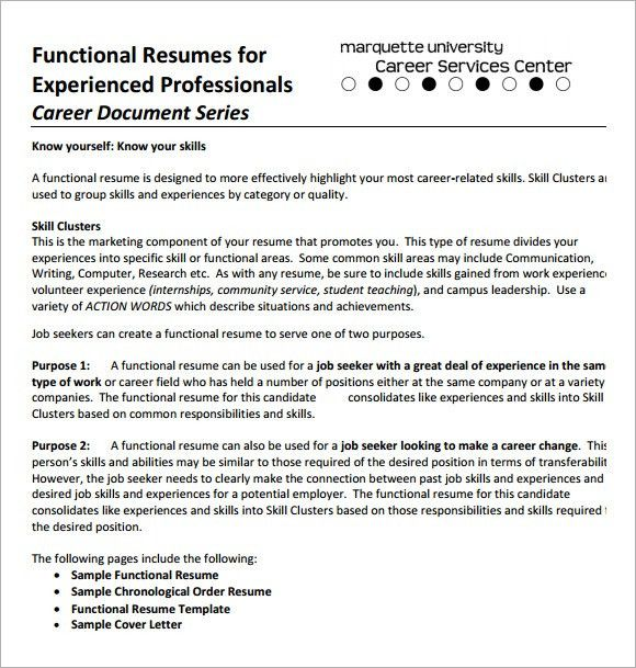 Functional Resume Examples. Functional Resume Template Example .