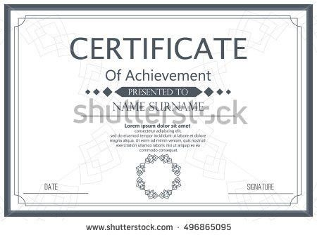 Certificate Design Template Unique Patterned Hipster Stock Vector ...