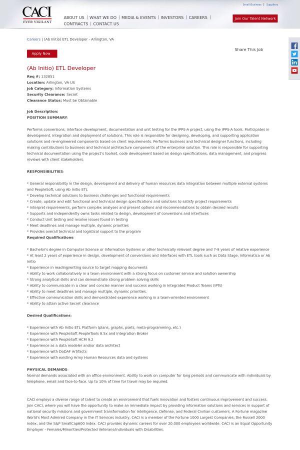 AB Initio) ETL Developer job at CACI in Arlington, VA | Tapwage ...