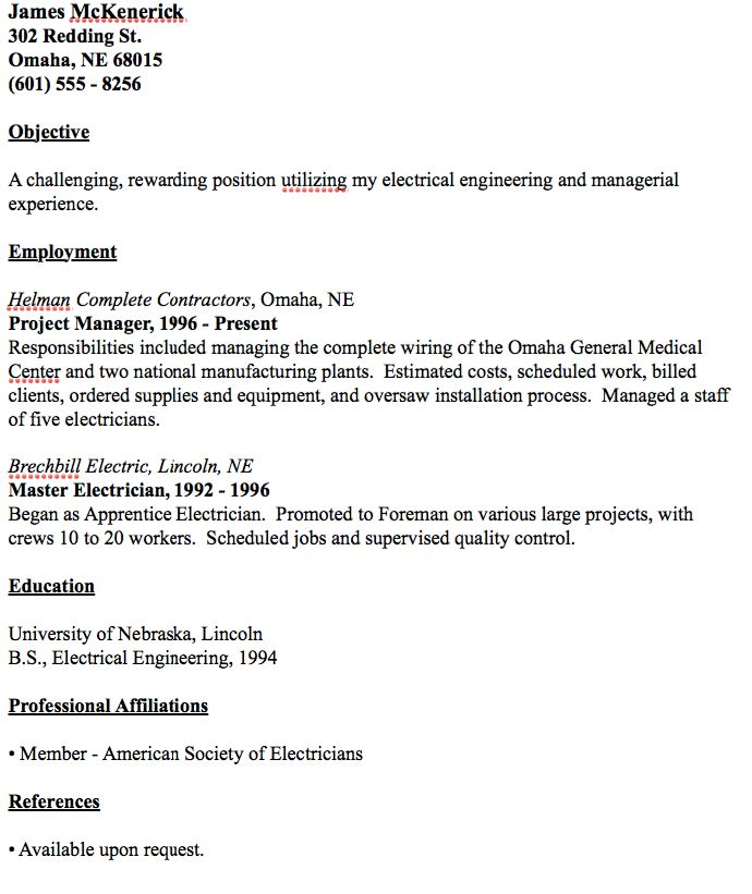 Example Of Master Electrician Resume - http://resumesdesign.com ...