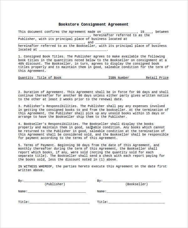 Sample Consignment Agreement - 10+ Examples in Word, PDF