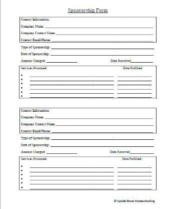 Blog Sponsorship Form Printables