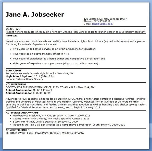 Veterinary Assistant Resume Examples | Creative Resume Design ...