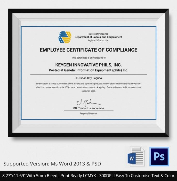 Certificate Of Compliance Template. Regulatory Compliance And ...
