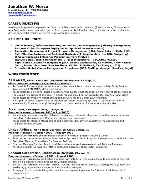 sample resume objective statements for project manager resume ...