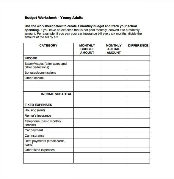 Monthly Budget Worksheet] Monthly Budget Spreadsheet For Excel ...
