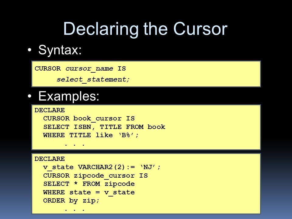 ITEC 224 Database Programming PL/SQL Lab Cursors. - ppt download