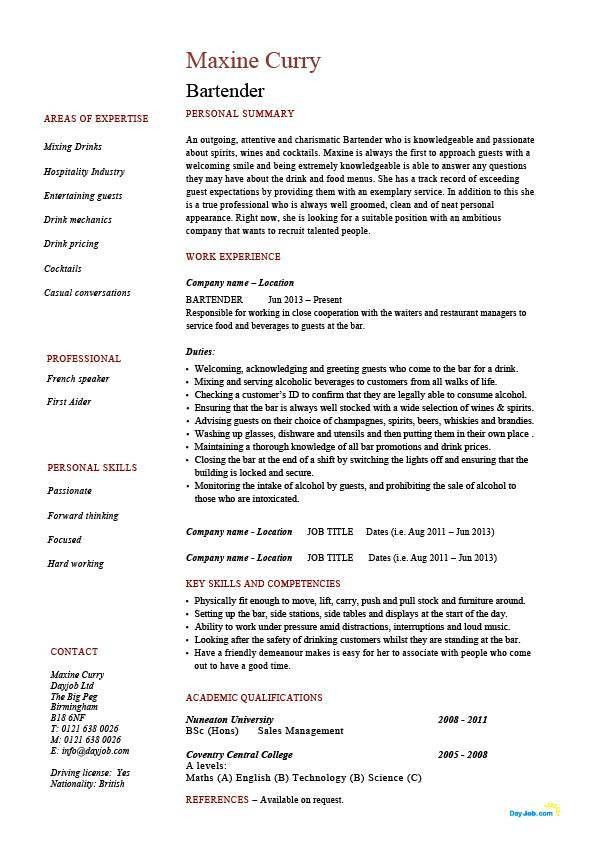 Bartender resume, hospitality, example, sample, job description ...