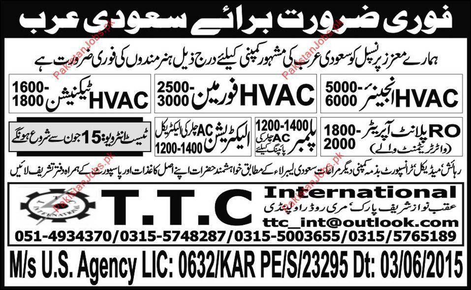 HVAC Engineer, HVAC Foreman, HVAC Technician, RO Plant Operator ...