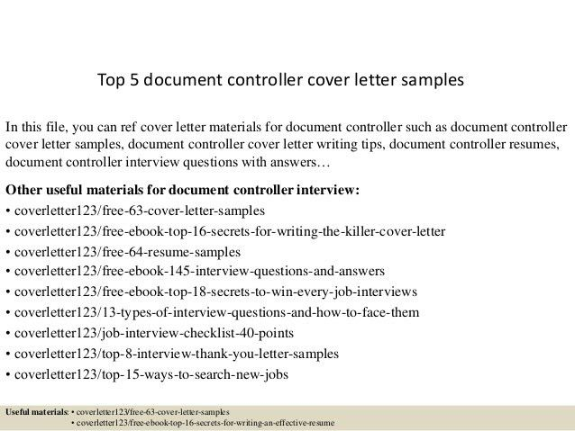 Document Control Cover Letter #14125