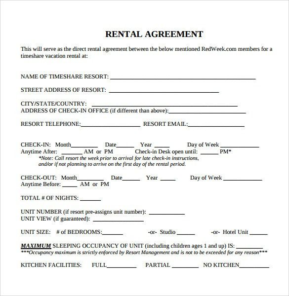Interesting Blank Rental Agreement Template for Resort Lease with ...
