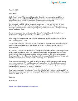 Sample Church Fundraising Letters