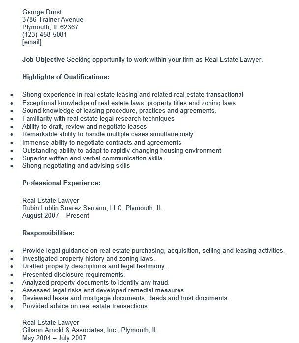 16 Free Sample Real Estate Attorney Resumes – Sample Resumes 2016