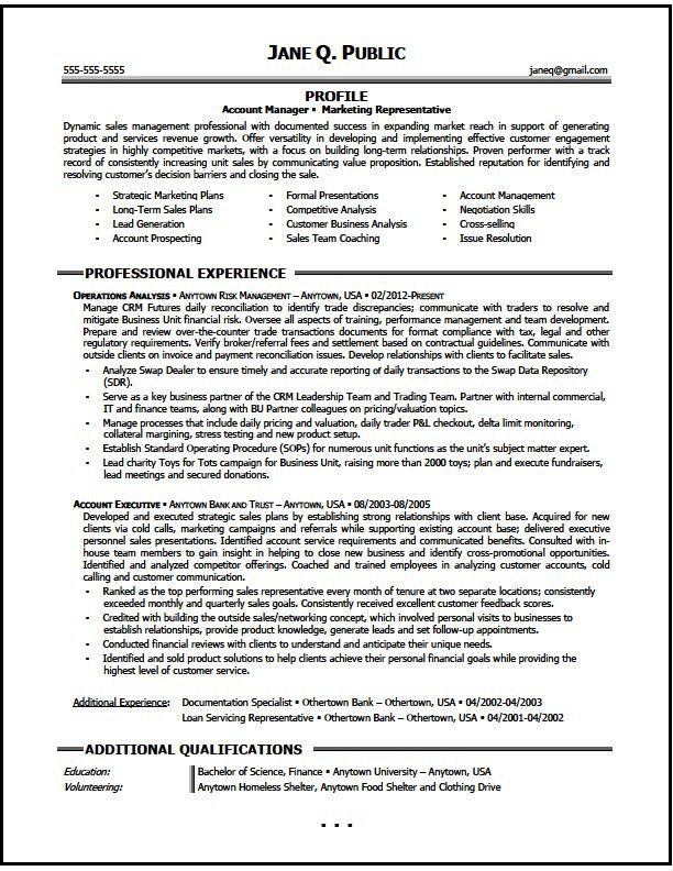 Marketing Account Manager Resume Sample, Marketing Resume - The ...
