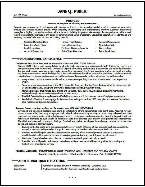 Marketing Account Manager Resume Sample, Marketing Resume - The ...