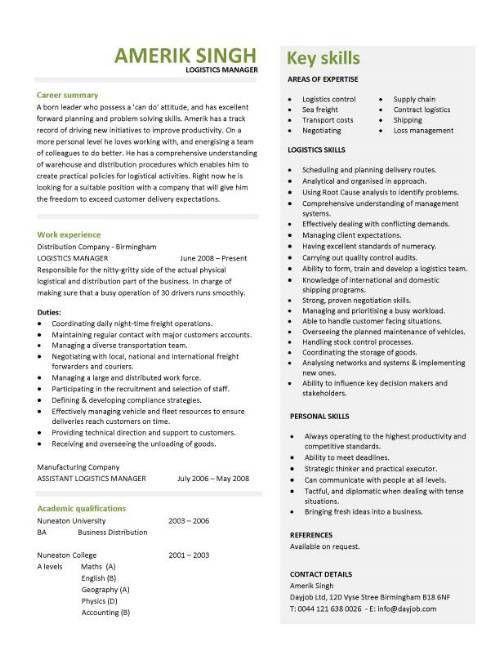 Career Perfect Logistics Resume Sample - Writing Resume Sample ...