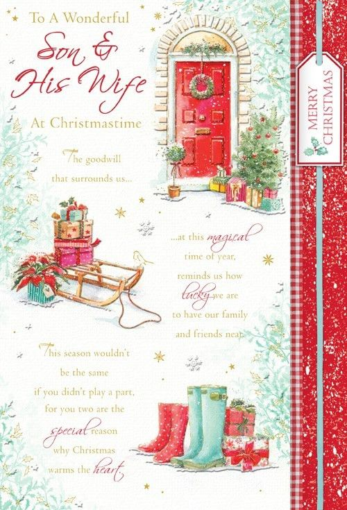 Words 'n' Wishes Son & Daughter-in-Law Christmas Card - Door ...