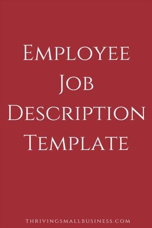 Job Description Template — The Thriving Small Business