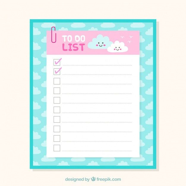 Cute checklist template with clouds in flat design Vector | Free ...