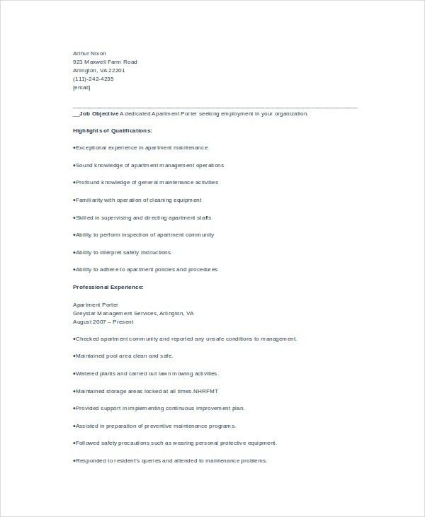 Porter Resume Template - 6+ Free Word, PDF Documents Download ...