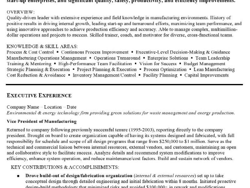 manufacturing resume sample