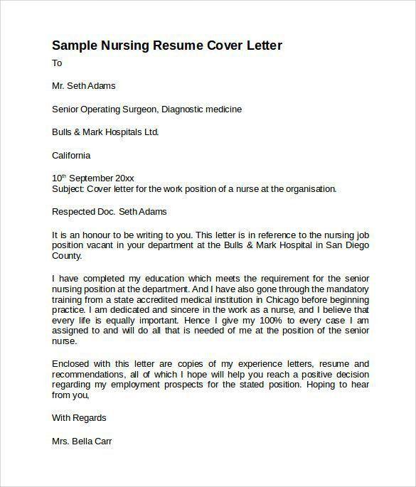 Example Of Nursing Cover Letter | Enwurf.csat.co