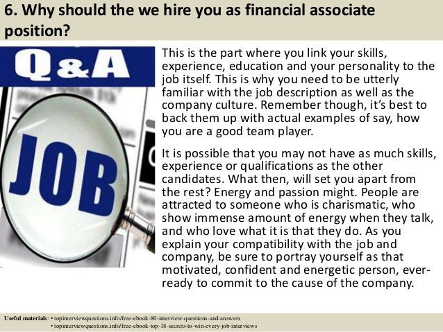 Top 10 financial associate interview questions and answers