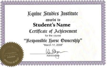 Learning About Horses: Equine Studies Certificate of Completion Sample