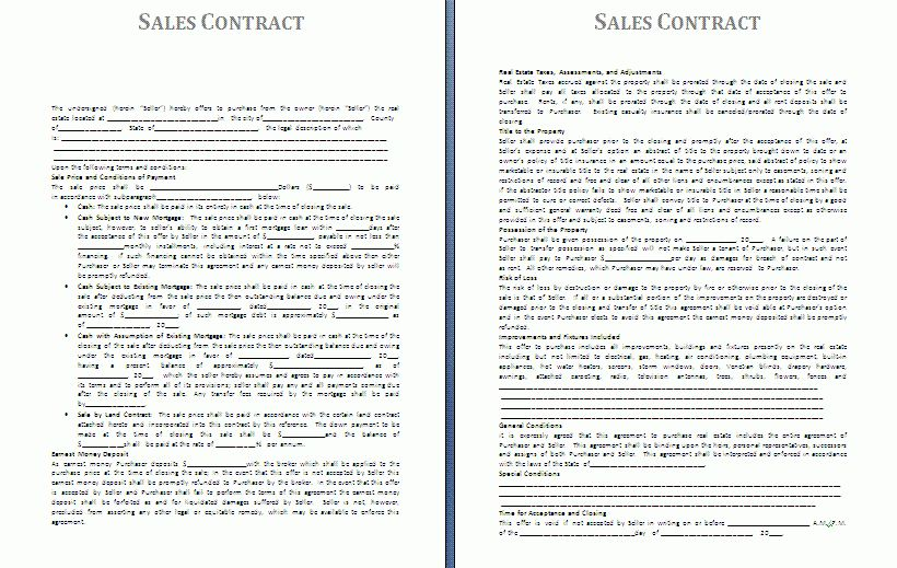 Sales Agreement Template.car Sales Contract Template.jpg ...