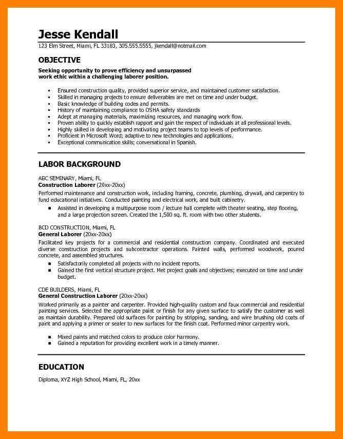 General Labor Job Objective Sample. image result for cover letter ...
