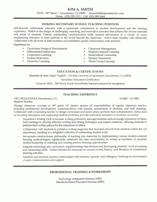Secondary Teacher Resume Example | Secondary schools, Job ...