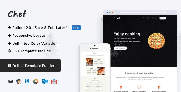 Chef - Responsive Email Template + Online Builder by CastelLab ...